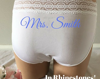 Large - Personalized BRIDE Rhinestone Bridal Panties Bikini -Bride Blue white with blue stones - Bling underwear Size LARGE - Ships in 24hrs