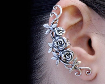 Flower Ear Cuff Floral Ear Cuff Rose Ear Cuff Silver Rose Tendril Ear Cuff Rose Jewelry Flower Earring Rose Earring Flower Jewelry Rose Art