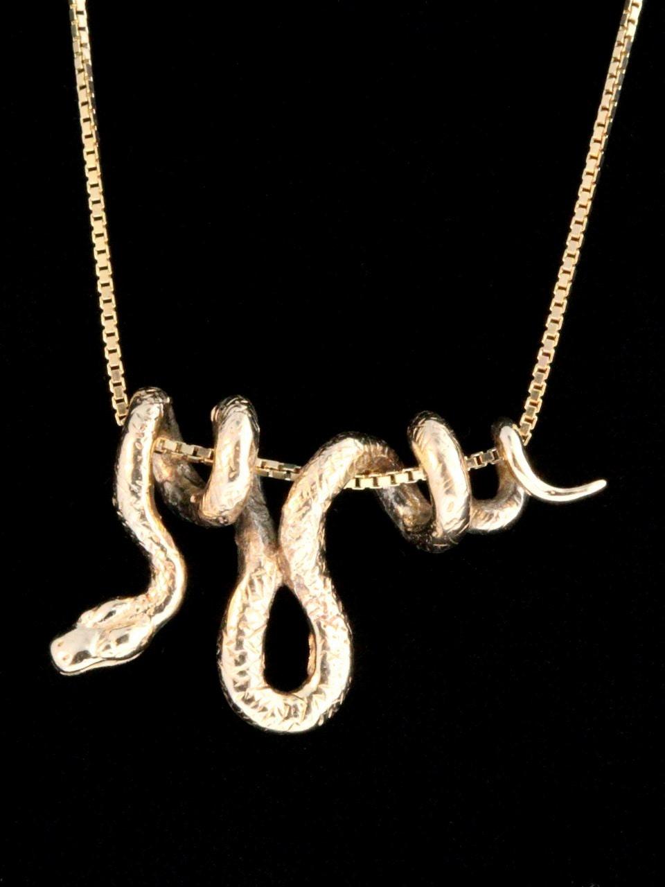 gold snake necklace 14k gold vine snake pendant snake jewelry