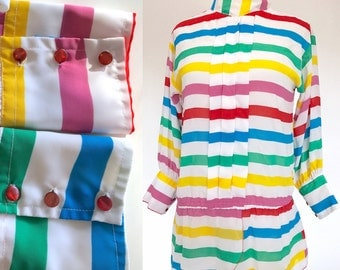 Vtg 80s Rainbow Striped Pleated Secretary Button Blouse Shirt Top . Med . D152 . 1231.10.14.16