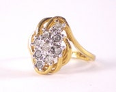 14KT Gold Electroplate Ring With Cubic Zirconia Settings Vintage Jewelry
