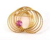 Gold Wreath Pink Rhinestone Brooch Pin - Vintage Jewelry