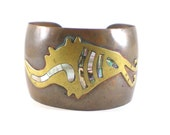Vintage Abstract Copper Brass Cuff Bracelet With Abalone Shell Inlay Vintage Mechoen Mexico Jewelry