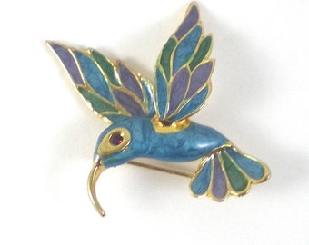 Hummingbird Brooch Pin - Gold Blue Purple Flying Bird - Vintage Jewelry