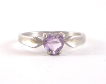 Sterling Silver Amethyst Heart Ring Size 10 Vintage Jewelry Love Valentine