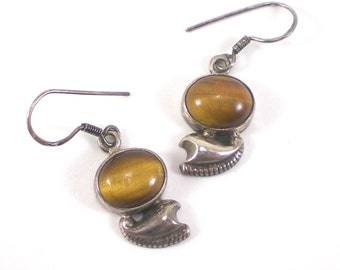Tiger Eye Earrings - Sterling Silver Gemstone Pierced Dangle Earrings - Vintage Jewelry