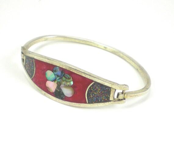 Red Abalone Flower Bracelet Bangle Alpaca Silver Vintage Jewelry
