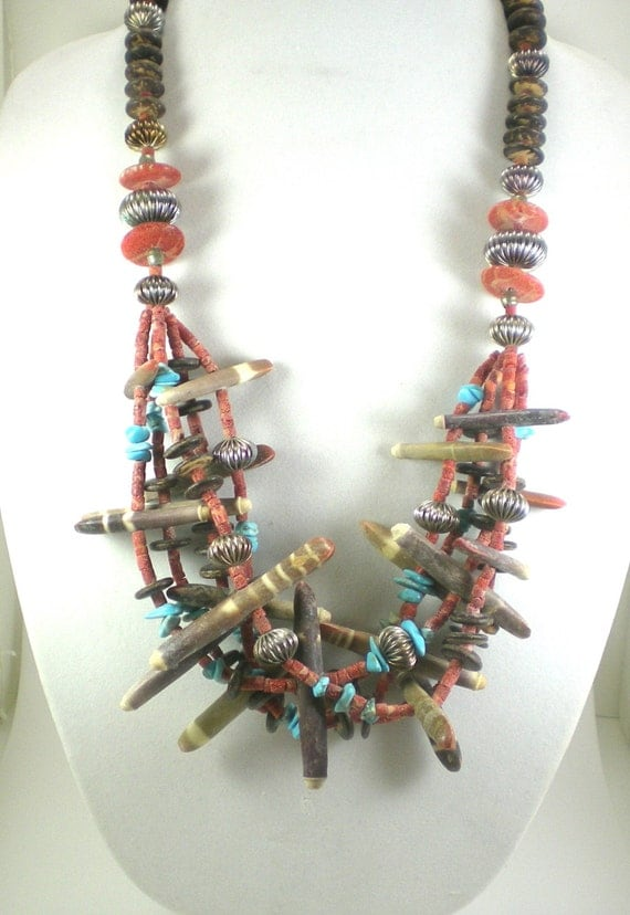 Boho Tribal Statement Necklace - Sea Urchin Spines Sponge Coral Coconut Turquoise Beads , Vintage Statement Jewelry