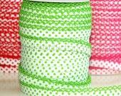 Double fold crochet edge bias tape, crochet bias tape, lace bias tape, white and green bias tape, polka dot bias tape, bias binding