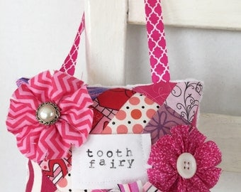 Embellished Pink Patchwork Tooth Fairy Pillow OOAK Girls Room Decor Birthday Gift