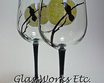 Halloween Edgar Allan Poe The Raven Full Moon Wine Glasses Eerie Hand painted
