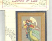 1997 - Mint Cross Stitch CHART -  ANGELICA by LEAVITT- Imblum - Lavender & Lace - Instructions in English - Colorful Angel- original package