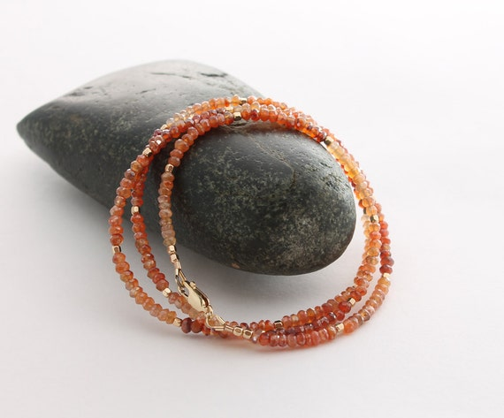 3 wrap Bracelet with faceted Carnelian