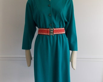 vintage 1970s teal button dress / 70s day dress / mid century modern jersey dress