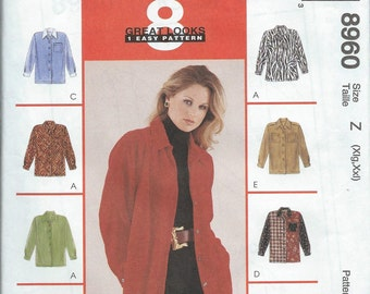 McCall's 8960 Misses' Shirt - Size XL-XXL - Uncut Pattern