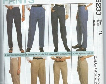 McCall's 9233 Misses' Pants, Trousers and Jeans - Size 16 - Uncut Pattern