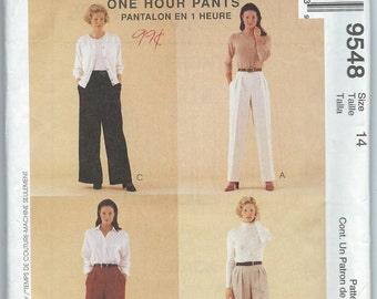 McCall's 9548 Misses' Pull-On Pants - Size 14 - Uncut Pattern