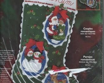 Bucilla Felt Christmas Stocking - Romantic Couples - CS004