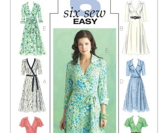 Misses' Wrap Dress, Belt & Sash -Butterick B5030 - Six Easy Wrap Dress Pattern Sleeve Variations - US Sizes: 8 -10 -12 -14 or 16 -18 -20 -22