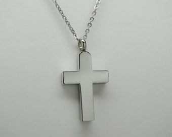 Silver Cross CREMATION JEWELRY Cross Urn Necklace Ash Holder Memorial Keepsake Pendant Urn Stainless Steel Religious Urns for Person or Pet