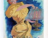 French Poster - Saxoleine - 1895 Cheret -  Paraffin for Lamp Advertisement  1968 Reproduction Print 8-1/2 x 12
