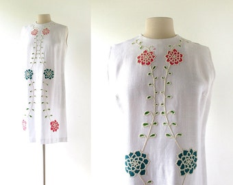 1960s Floral Dress | Beaded Dress | Linen Shift Dress | 60s Dress | Large L