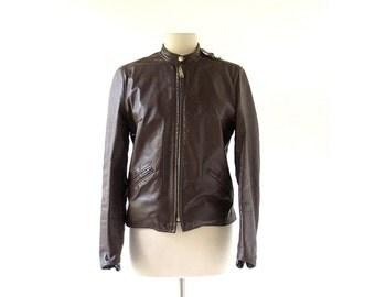 Vintage Motorcycle Jacket / Brooks Cafe Racer Jacket / 60s Leather Jacket / S M