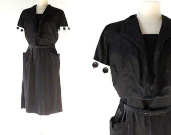 Vintage 1950s Dress / 50s Sundress and Jacket / Black and White Dress / Large L