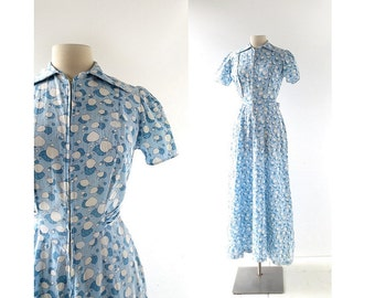 1940s House Dress / Blue Leaf Dress / Vintage 40s Dress / Small S