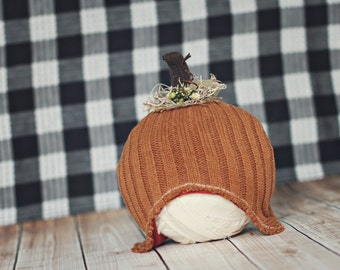 6 to 12 month pumpkin hat // Halloween photo prop // fall pumpkin up cycle // ready to ship next day //baby fall photo prop // ginger snap
