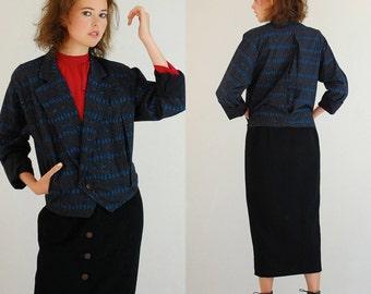Crop Jacket Vintage 80s 90s Menswear Asymmetrical Crop Slouchy Indie Urban Jacket (m l)