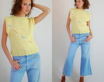 Boxy Sweater Vest Vintage 80s Light Yellow Boxy Fit Slouchy Oversized Indie Sweater Vest (m l)