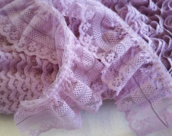 LA005 ~ Lavender Mauve lace Gathered trim 6 yards