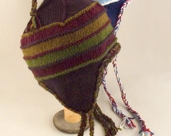 Striped Earflap Hat Knitting Pattern - PDF