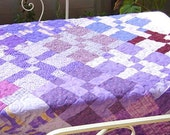 "Lap Quilt, Wall Hanging, Table Decor, Purple quilt, Disappearing nine-patch quilt, table cloth, 56 1/2""x 68"""