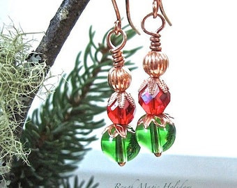 Red & Green Christmas Earrings Holiday Jewelry Colorful Glass Copper Earrings Bauble Earrings Festive Xmas Gift for Women Stocking Stuffers