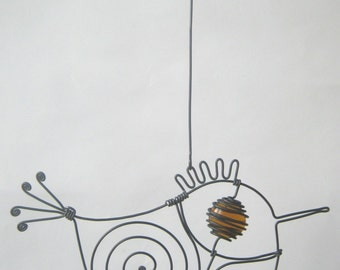 Small Amber Brown - Eyed Wire Bird / Metal Animal Sculpture
