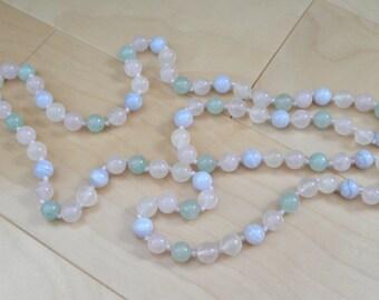 Vintage Pastel Quartz / Glass Bead Necklace
