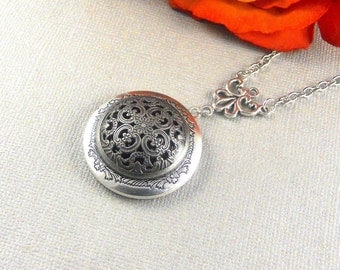 Antique Silver Locket, Brides, Bridesmaids, Weddings, Wife, Sister, Christmas, Holidays, Friends, Locket Necklace- Isabella