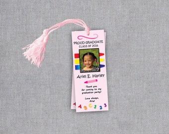 Preschool Graduation Bookmarks - Pre K Graduation Bookmark - Kindergarten Graduation Bookmark Favors - Personalized Graduation Party Favors