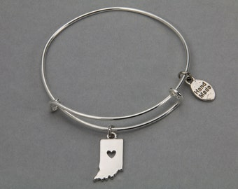 State of Indiana charm bracelet: Adjustable bangle bracelet