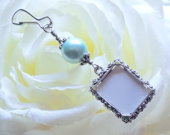Wedding bouquet photo charm. Light blue pearl Wedding keepsake. Bridal bouquet photo charm w/ shell pearl. Bridal shower gift.