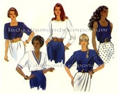 Butterick 5278 Womens Easy Pullover Tops Shirts Blouse 5 Styles size 12 14 16 Bust 34 36 38 Plus Size Vintage Sewing Pattern Uncut