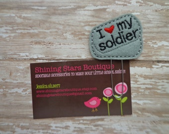 Felt Planner Clips - Red, Black, And Gray I Heart My Soldier Military Tags Paper Clip Or Bookmark - Patriotic Accessory For Military
