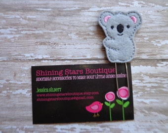 Felt Planner Clips - Gray And Pink Koala Paper Clip Or Bookmark - Zoo Animal Accessories - Planner Goodies And Inspiration