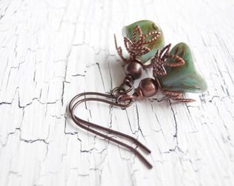 Handmade Czech Glass Flower Earrings