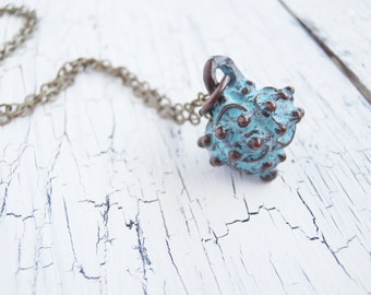 Simple Patina Pendant Necklace - Verdigris Necklace