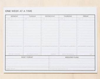 One Week at a Time | A4 Notepad | Planner | Organiser | Office | Toodles Noodles