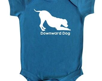Downward Dog Silhouette Baby Bodysuit