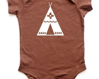 Tribal Tipi/Teepee Silhouette Baby Bodysuit